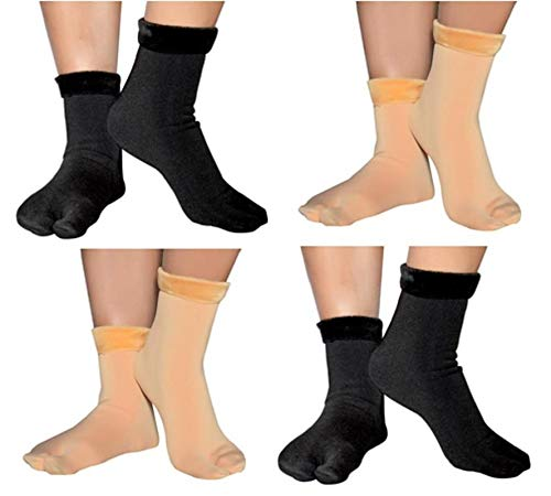 Ek Udaan- 2 Beige + 2 Black Soft & Cozy Solid Winter Thick Warm Fleece Lined Thermal Stretchy Elastic Velvet Socks (With Thumb) for Girls/Ladies/Women
