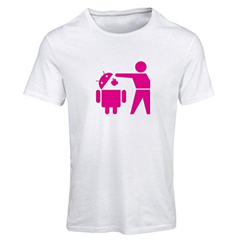 Camiseta Mujer Robot Android Divertido - Regalo para los Fans de tecnología (Medium Blanco Magenta)