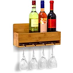 Relaxdays Étagère à vin Porte-verres fixation murale Porte-bouteilles Support bouteilles vin bambou HxlxP: 17 x 36 x 11,5 cm 4 bouteilles & 4 verres, nature