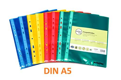 perfect line 100 Prospekt-Hüllen DIN-A5 bunt & glas-klar, Klarsicht-Folien farbig, 4 Farben, perfekte Sicht-Huellen zum Schutz von Papier, Ordner, Rezepte, Akten, Ausweis & Dokumenten