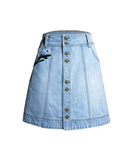 Damen Rock Mode Gestickt Sommer Mini Jeansrock Line A Rock 20er Jahre Mit Knopfverschluss Casual Outdoor Röcke (Color : Licht Blau, Size : S) -