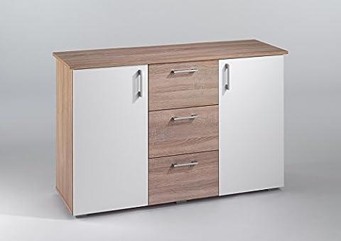 Cavadore Design Sideboard Swing / Moderne Kommode in Monument Oak / Mit 2 Türen und 3 Schubladen / 124 x 78 x 42cm (B x H xT)