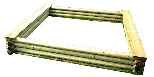 Gartenpirat Großer Sandkasten 180x180 cm aus Rundholz Ø 7 cm