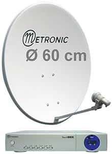 Metronic 498160 Kit numérique avec Terminal FTA + LNB universel + Parabole acier Blanche 60cm  CALYSTA 60