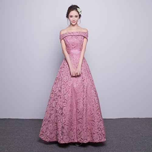 Heart&M Abendkleid lang-Stil Carmen-Ausschnitt bodenlangen ärmellose Satin . pink . s