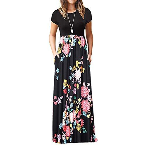 TIFIY Sommerkleid Damen,Elegante Casual Ärmel Oansatz Druck Maxi Blumen Langes Kleid Boho Strand Partykleider Hemdkleider (A_ j,XXXL -