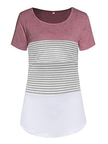 Love2Mi Damen Mutterschaft Spitze gestreift Stillende Oberteile Kurzarm Stitching Stillendes T-Shirt, Rosa, XL