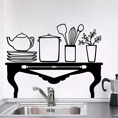 hzcl Creative Table Teapot Plate Tools Black Wall Decals Kitchen Dining Home Decoration Vinyl Wall Stickers DIY Mural Art Poster Stereo-wall Plate