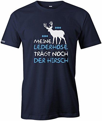 Meine Lederhose trägt noch der Hirsch - Oktoberfest - Herren T-Shirt in Navy by Jayess Gr. XXL