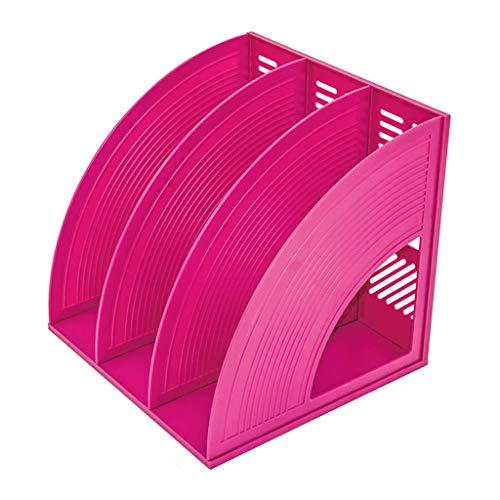 Porta File a Forma di ventaglio Vassoio 3 File in plastica for Articoli for Ufficio File for riviste Carta A4, Rosa Rossa