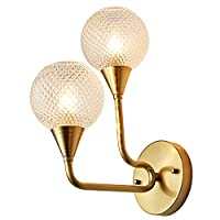 YMXMJZM Bedroom Up American Modern Copper Wall Lamp Sconce, Living Room Bedroom Simple Glass Wall Light 2 Heads Restaurant Aisle Decorative Wall Lantern bathroom