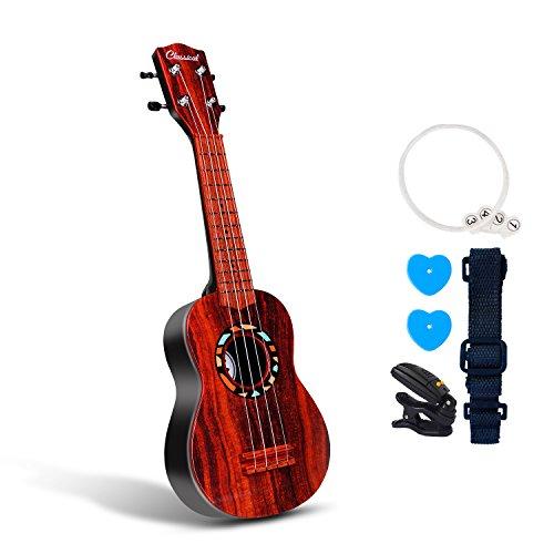 """53,3cm Gitarre Ukulele Spielzeug für Kinder Think Wing Playstation Kinder Musikinstrumente Bildungs-Spielzeug für Anfänger Starter 21"""" Gourd Dark"""