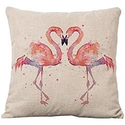 welim almohada impresión funda de almohada cojín de dibujos animados Cute almohada cojín Flamingo aplicable para sofá o coche de 45* 45cm