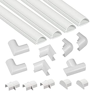 D-Line Mini Cable Trunking Kit | Self-Adhesive Cable Covers | Electrical Cable Tidy, Popular Cable Management Solution | 4 x 1 meter Lengths per pack - White