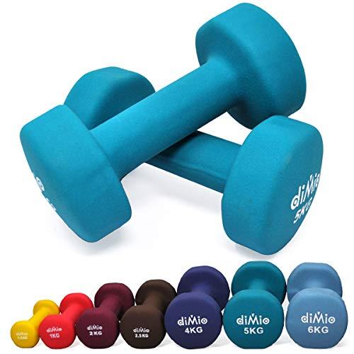 diMio 5,0 kg Neopren Gymnastik Hanteln im Doppelpack, Soft-Grip, für Fitness, Ausdauertraining und Muskelaufbau