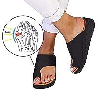 Grote teen Bot Valgus Corrector Slippers Womens Bunions Orthopedische sandalen Open teen Hallux Antislipschoen met ondersteuning van de voetboog voor pijnverlichting Bunion Symptomen,Black,38
