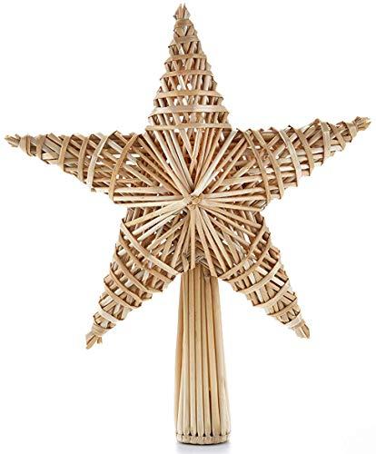 HEITMANN DECO Stroh-Baumspitze 25 cm Natur - Christbaumspitze Stern aus Stroh - Christbaumschmuck aus natürlichem Material -