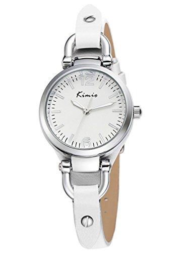 Alienwork Armbanduhr Damen Uhr Leder Armband Lederarmband Lederband weiss Analog Quarz Damenuhr Mädchen silber weiss Wasserdicht Retro elegant