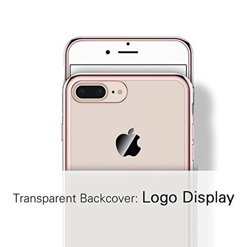 SMART LEGEND iPhone 7 Weiche Silikon Hülle Kratzfeste Plating Case Weiche Silikon Hülle TPU Bumper Transparent Handyhülle Durchsichtig Schutzhülle Backcover Crystal Kirstall Clear Etui Ultraslim Glatt Gold