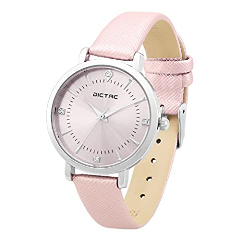Dictac-Designer Brand Watch,Waterproof Crystal Accented Bezel Lady Casual Watch,Leather Strap