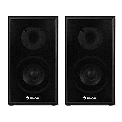 AUNA Line 300-SF-BK Passive Hifi Bookshelf Speakers High Performance (2 x 35W RMS, Low Res Wood Cabinet, Gold Plated Speaker Connections) Black by Auna