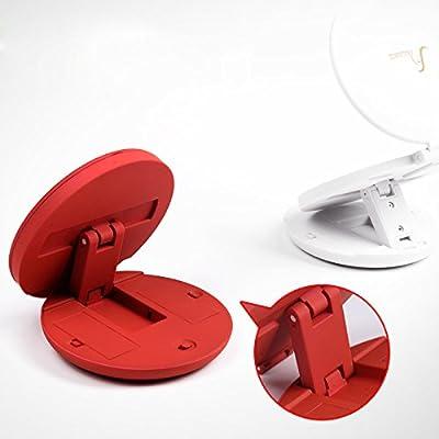 Fugou® Zweiseitige Make-up Spiegel mit LED-Leuchten Ein Nebeneffekt Lupe X5 und Multi-Angle Standfunktion beider Seiten Folding tragbare Mini-Kosmetikspiegel