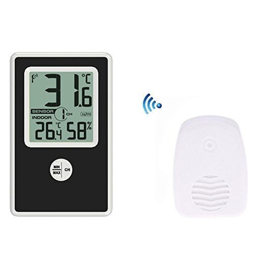 Wetter Vorhersehungsstation, Multifunktional Temperatur,DXNSPF Elektronisch Uhr, Rf Drahtlos Wetter Uhr, Temperatur Feuchtigkeit Anzeige, 4.7*2.9 Zoll