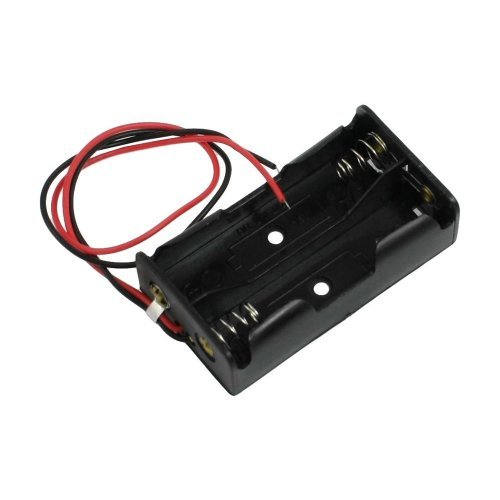 SODIAL(R) Schwarz Kunststoff 2 x 1,5 V AA Batterie verdrahtete Zellengehaeuse -