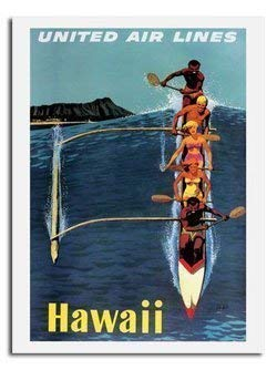 Hawaii von United Airlines Reise Poster - Größe 40 X 30 cm (15.5 X 11.5 Inches) - Poster Airlines United