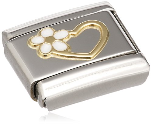 Nomination Composable Damen-Bead Edelstahl Classic Love Herz Blume 18K-Gold Emaille weiß 030253/40