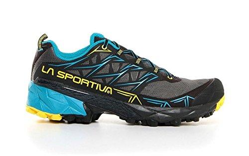 La Sportiva Akyra, Scarpe da Trail Running Uomo, Multicolore (Carbon/Tropic Blue 000), 43 EU