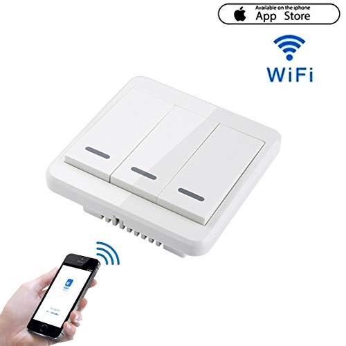 RDJM Wi-Fi Abilitato Smart Light Switch 220~240V Funziona Con Apple Homekit Support Telecomando Siri One-Way Single Pole Wall Switch Su 2,4 Ghz Network Monitor Consumo Di Energia(3 GANG)