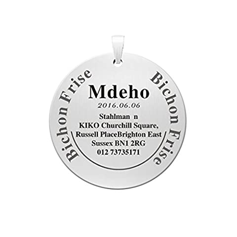 Pet ID Tag Custom Deeply Engraved Dog Pendant 35mm Round