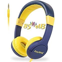 EasySMX [Casque Audio Enfant Anti-Bruit] Casque Enfant Casque d'écoute Filaires avec Limiteur de Volume, Casque de Protection Oreilles Confortable pour Enfant 3-12 Ans (Prince Bleu)