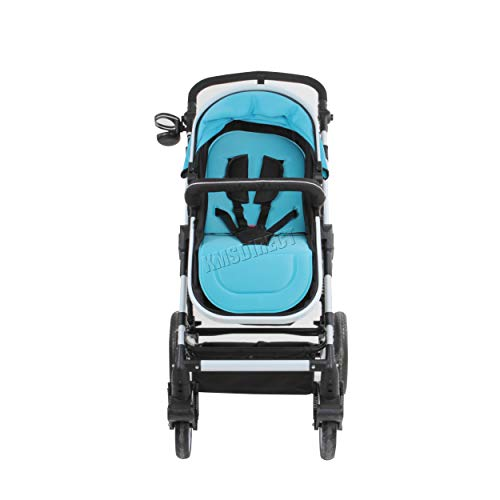 FoxHunter Foldable Adjustable High View Baby Child Toddler Stroller 3 in 1 Pushchair Pram Buggy Carrycot Travel FH-BS02 Blue