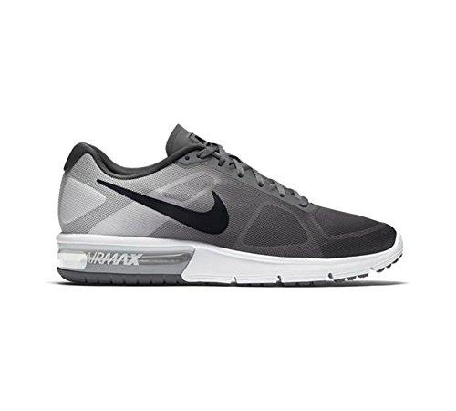Nike Air Max Sequent, Chaussures de Running Entrainement Homme, Noir Gris / blanc / noir (gris foncé / noir - platine pur - platine métallique)