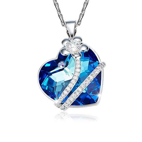 LZMSDX 925 Sterling Silber mit Kristallen verziert Halsketten Frauen Blume blau Licht Fine Jewelry Liebhaber Geschenke (Blaue Blume-lichter)