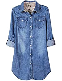 Chemise Jean Femme Printemps Automne Fashion Long Manches Revers Chemisier  Loisir Streetwear Spécial Style Tendance Bouffant dfe445296539