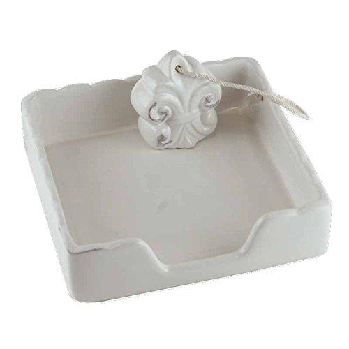 Weiß Keramik Serviettenhalter (Better & Best 1821132Serviettenhalter aus Keramik, quadratisch, mit Fleur de Lys, weiß)