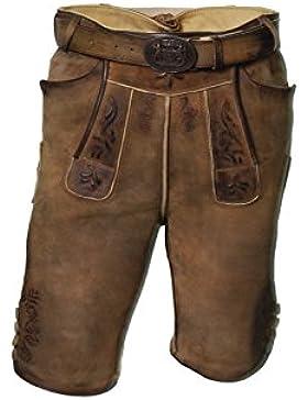 Kurze Herren Trachten-Lederhose aus Ziegenleder mit Gürtel, Nähte aus Hirschleder, antik, echte Büffelhornknöpfe
