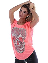 Vokuhila Totenkopf Skull Top Shirt Tunika Oversize