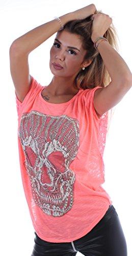 Sexy Vokuhila Schwalbenschwanz Totenkopf Skull Top Shirt Tunika Oversize One Size OneSize einheitsgröße t Shirt Tshirt Oberteil locker lässig Sommer luftig gemütlich Kragen Kurze ärmel dünner Stoff