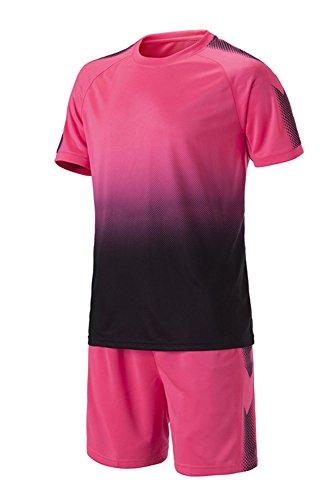 Mädchen Fußball Kostüm - KINDOYO Kinder Herren Fußball Kleidung Oberteile und Shorts Set Training Wettbewerb Sportbekleidung Teamtrikots, Rosa/24