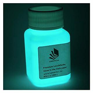 lumentics Premium Leuchtfarbe GrünBlau 100ml - Im Dunkeln leuchtende Farbe, Helle Nachleuchtfarbe, Selbstleuchtende Wandfarbe, UV Glühfarbe, Glow (Blau-Grün)