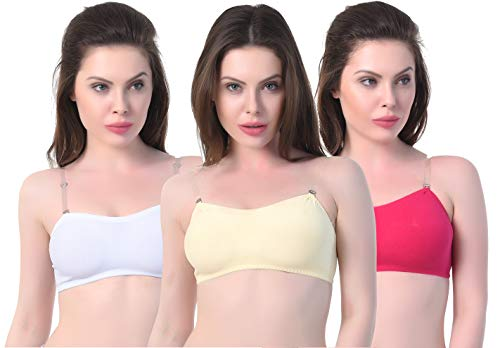 FD Women's Cotton Nylon Mix Full Coverage Non-Padded Casual Transparent Strip Tube Bra - Combo of 3