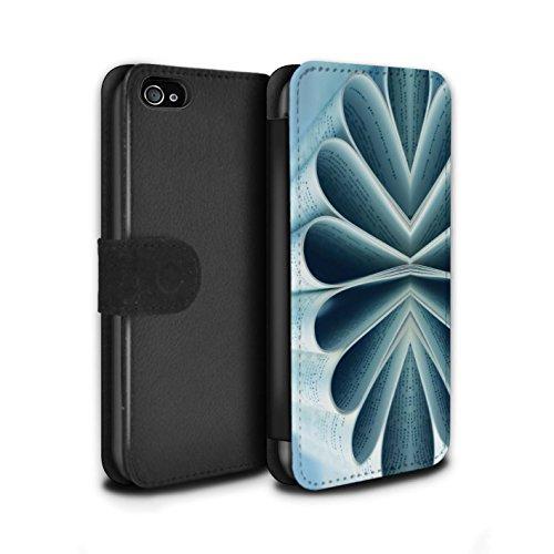 Stuff4 Coque/Etui/Housse Cuir PU Case/Cover pour Apple iPhone 4/4S / Crayons/Zip Design / Art Abstrait Collection Livre/Fleur de Papier