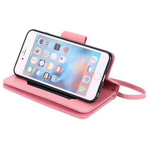 iPhone Case Cover Gepresste Blumen Geprägte Mädchen und Katzen-Muster PU-Leder-Kasten-Abdeckung mit Handschlaufe und 9-Karten-Slot-Foto-Rahmen für IPhone 6 6S 4.7 ( Color : Gray , Size : IPhone 6 ) Pink