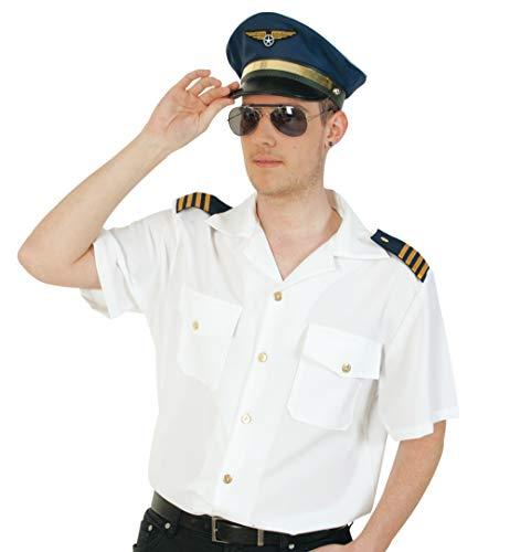 KarnevalsTeufel Herrenkostüm-Set Pilot 3-teilig Hemd in weiß mit Mütze in blau und Pilotenbrille Kapitän Flugzeugführer Uniform (X-Large)