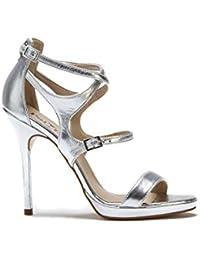 Damen Braut Hochzeit mittelhoch elfenbein-weiß-silber Abschlussball Schuh Größe