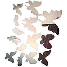 14pcs Etiqueta de Pared 3D Efecto de Espejo Mariposa de Acrílico Vinilo Decoración Hogar